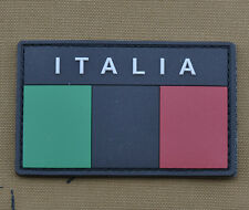 "PVC / Rubber Patch ""Subdued Italian / Italia Flag Black"" with VELCRO® brand hook"