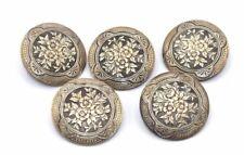 SET OF FIVE Vtg VICTORIAN / EDWARDIAN Era LARGE Bronze Ornate FLORAL Buttons