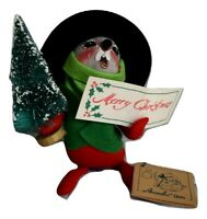 """Annalee Caroling Mouse Singing Hat & Tree 7"""" Tall  #7754 1992 Christmas Vintage"""