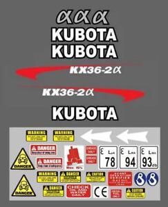 Decal Sticker set. KUBOTA KX36-2 Mini Digger Pelle Bagger Excavator