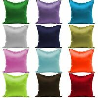 Solid Colors Throw Pillow Case Square Sofa Silk Waist Cushion Cover Home Decor