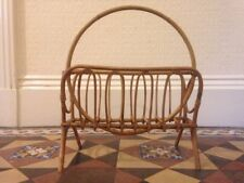 Mid 20th Century Bamboo Magazine Rack Vintage Boho Newspaper Stand