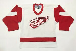 Vintage CCM NHL Detroit Red Wings Hockey Jersey White Boys S/M Canada Sewn
