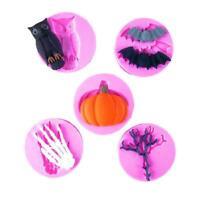 Halloween Series Bat Owl Spider Twig Silicone Fondant Cake Molds Kitchen Tool Q