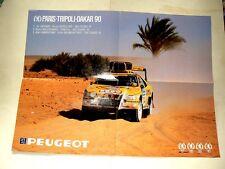 Affiche PARIS DAKAR PEUGEOT 405 16 Turbo 1990 course auto sport car poster