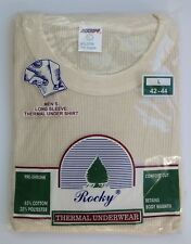 Rocky Thermal Underwear Long Sleeve Shirt Waffle Men's Large 42-44 NOS Vintage
