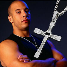 Fast and Furious Vin Diesel Dominic Toretto's Cross Pendant Necklace Rhinestone