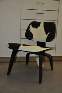 Original Vitra Charles Eames LCW schwarz Kuhfell Lounge Chair Wood
