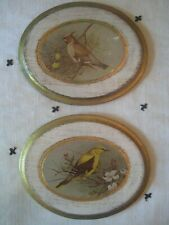 "Vtg. 2 Italian Florentine Toleware Wood Wall Plaques Gold Gilt w Birds 6"""