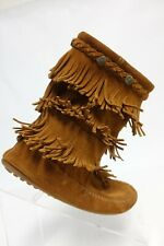 MINNETONKA 3-Layer Frill Suede Brown Sz 4 Kids Moccasin Boots