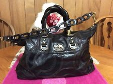 Coach OP Art Black Brown Leather Satchel with Braided handles