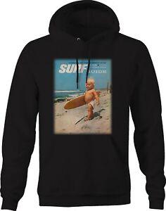 Hoodie Men Vintage Surfing Magazine Baby on Beach Surfboard Cute Funny Retro