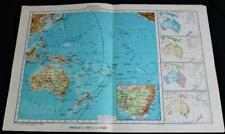OCEANIA AUSTRALIA MAP PAGE PLATE 1928 ITALIAN GEOGRAPHICAL INSTITUTE