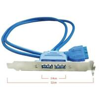 1xDual USB 3.0 Female Rear Back Panel to Motherboard Blue Best 20pin Cable W0J6