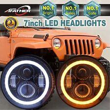 "2PCS 7""Inch CREE LED Headlight Angel Eye Halo DRL for Jeep Wrangler JK TJ 97-17"