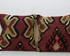 16 x 16'' Set of 2 Cushion Covers Natural Vintage Kilim Pillow Cover Sofa Decor