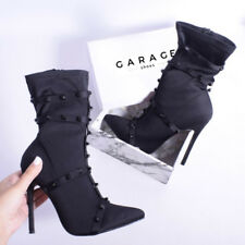 Womens Sock Fit Ankle Boot Stiletto Studded Caged Strappy Black Ladies Shoe Size