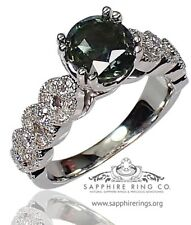 Certified 14kt White Gold 2.08 tcw Green Round Natural Sapphire & Diamond Ring
