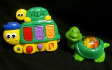 Lot of 2 Megcos Pop Up Turtle Interactive Play Toy w/ 40 Songs Light Sound