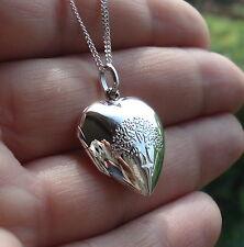 Sólido 925 Plata Esterlina Amor corazón Árbol de la vida Foto Colgante en Caja