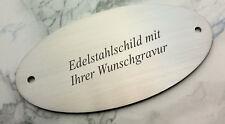TÜRSCHILD aus Edelstahl (V2A) - 105x54mm oval  - mit Ihrer WUNSCHGRAVUR