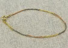 Hübsches Damen Tricolor Gold Armband 14K (585er) • 17,5 cm•