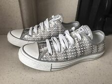 Converse All Star White & Silver Sequin Canvas Trainers Shoes Size 4