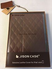 ➨ Jison Genuine Brown Leather Quilted Folio Smart Case for iPad Mini 1,2,3 ✔NEW