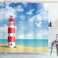 Beach Shower Curtain Lighthouse Seagulls Ocean Print for Bathroom