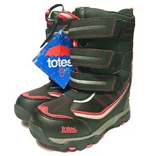 Brand New Totes Apex Kids Snow Boots Waterproof Black/Red-Size 12