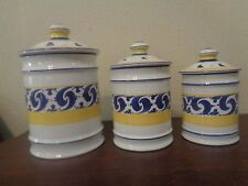 """Herend Village Pottery Present Tense 3 Pc Canister Set 10"""" 8"""" 7"""" Hungary"""