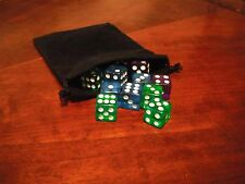 NEW 12 Transparent Purple/Green/Blue Gaming Dice Set With Black Bag16mm D6 13+