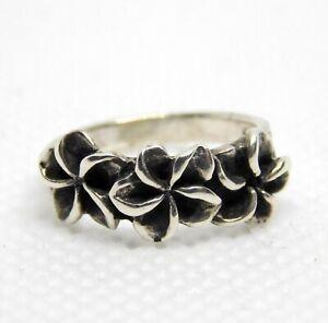 Sterling Silver Triple Plumeria Flower Band Ring Five Petal Flowers Size 3.25