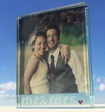 Spaceform grand verre cadre photo coeurs mr & mrs mariage anniversaire cadeau 1968