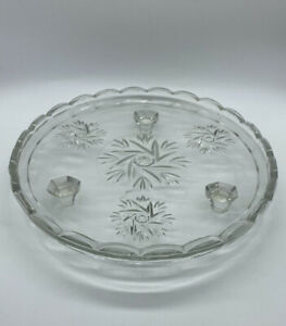 Clear Glass Cake Plate Footed Serving Plate Floral Pattern Vintage Pressed