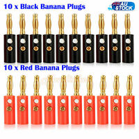 20 Pcs Black Red Connector 4mm Gold Plated Banana Audio Speaker Plugs Connector