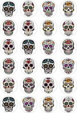 24 Sugar Skulls Cupcake Fairy Cake Toppers Edible Rice Wafer Paper Decorations