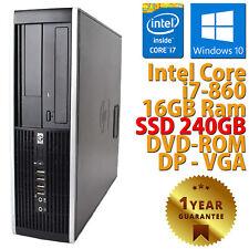 PC COMPUTER DESKTOP RICONDIZIONATO HP 8100 CORE i7-860 RAM 16GB SSD 240GB WIN 10