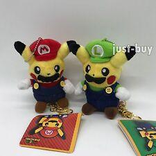 "2X Pokemon Crossover Mario & Luigi Pikachu Plush Soft Toy Doll Key Chain 5"""
