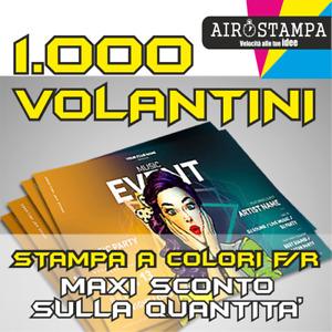 STAMPA 1.000 VOLANTINI  ECONOMICI F-R COLORI A5 , VOLANTINI ,CARTA