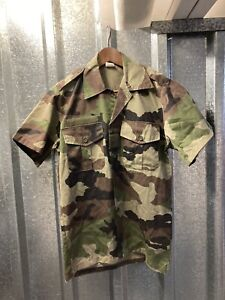 French Mens Vintage Camouflage Green Army CCE Military Short Sleeve Shirt Small