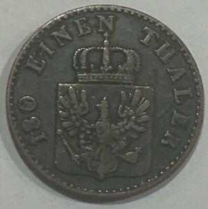 1855 A German States Kingdom of Prussia 3 Pfennig Friedrich Wilhelm IV Coin