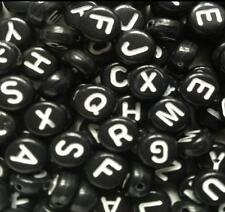 100 x 7x4mm Black Round Acrylic letter single beads 1mm hole Alphabet loose A-Z