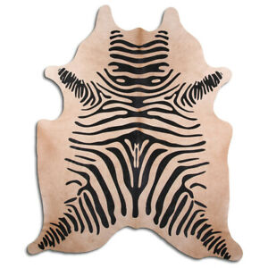 Real Cowhide Rug Zebra on Beige Size 6 by 7 ft, Top Quality, Large Size