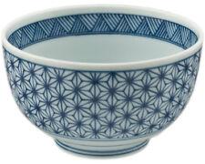 "Japanese Donburi Rice Soup Bowl 5""D x 3""H Porcelain Blue Asanoha Made in Japan"