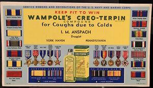 Wampole's Creo-Terpin Ink Blotter Bottle York PA Navy Marine Corps Insignia