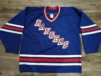 Vintage CCM New York Rangers NHL Hockey Jersey Mens Sz Large SEWN EUC Blue Blank