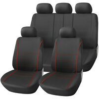 Sport Black with Red Piping Deluxe Luxury Full Car Set Seat Cover Protectors