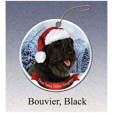 Bouvier des Flandres Black Howliday Porcelain China Dog Christmas Ornament