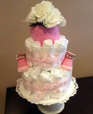 2+ Tier Pink  Diaper Cake, Baby Shower, New Baby Gift